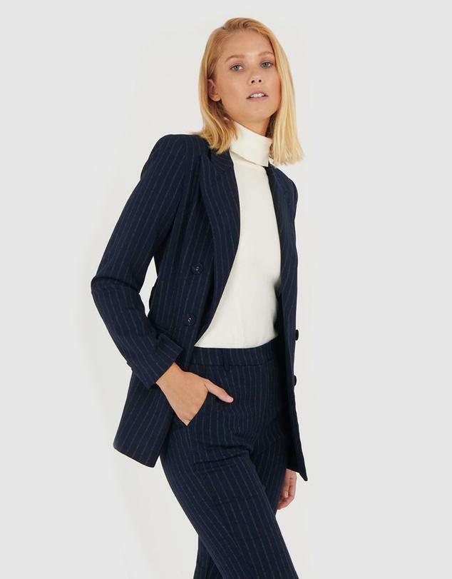 Women Tina Belted Pinstripe Blazer