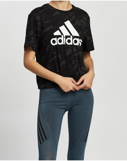 Adidas Performance Essentials All-over Print Tee Black & White
