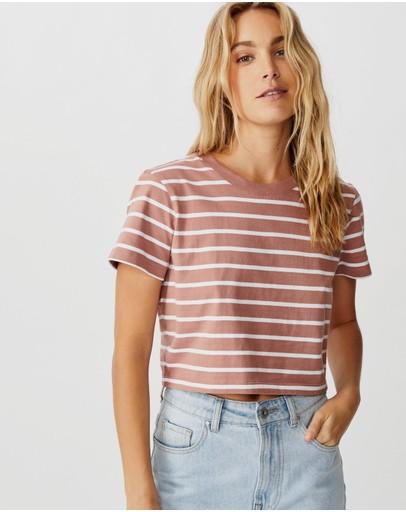 Cotton On The One Baby Tee Burlwood & White Stripe