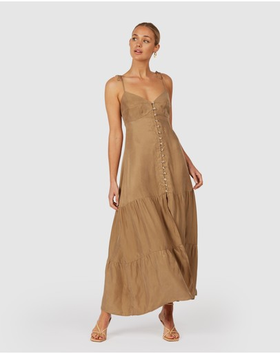 The Wolf Gang Farah Maxi Dress Pale Khaki