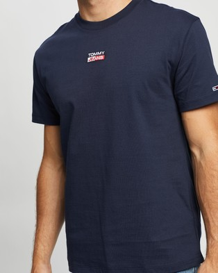 Tommy Jeans Small Centered Logo Tee - T-Shirts & Singlets (Twilight Navy)