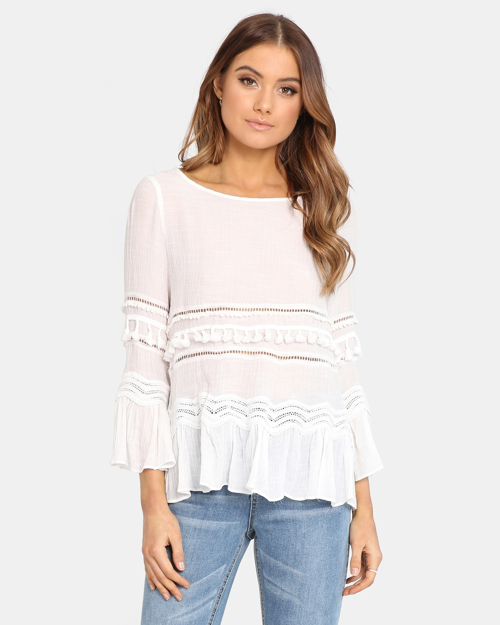 Madison Square Chantelle Top Tops White Chantelle Top
