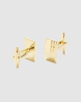 Buckle Rectangle Textured Gold Cufflinks - Ties & Cufflinks (Gold)