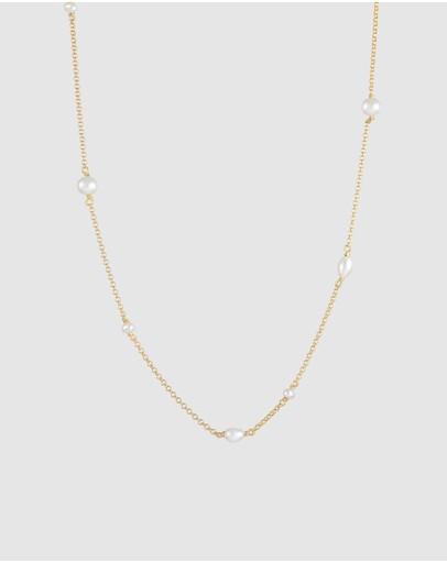 Elli Jewelry Necklace Layer Elegant With Freshwater Pearls In 925 Sterling Silver Gold Plated