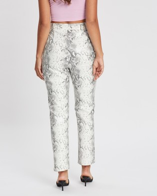 Missguided Faux Leather Straight Leg Trousers - Pants (White)