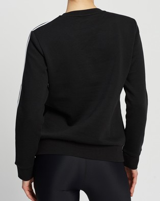 adidas Performance Essentials 3 Stripes Fleece Sweatshirt - Crew Necks (Black & White)