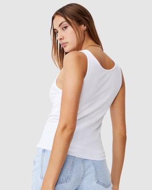 Cotton On - Vivian V Notch Tank Top Tops (White) V-Notch