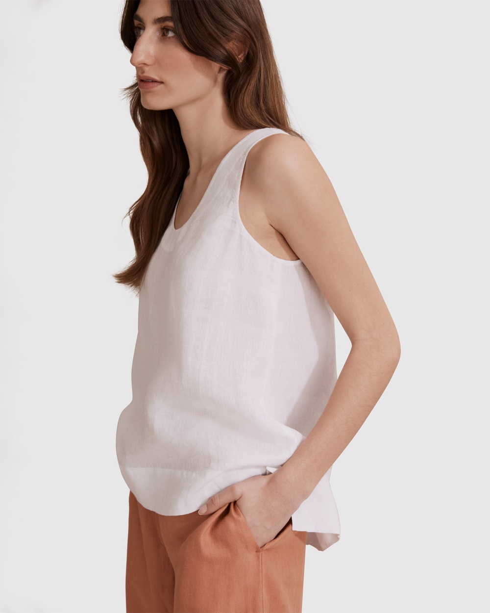 Country Road Organically Grown French Linen Tank T-Shirts & Singlets white Australia