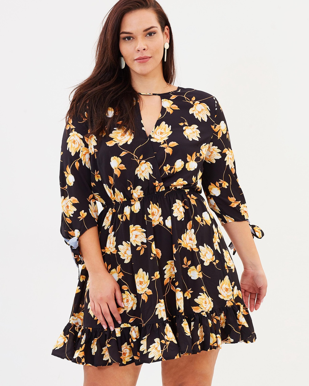 Atmos & Here Curvy ICONIC EXCLUSIVE Adriana Wrap Over Dress Printed Dresses Autumn Floral ICONIC EXCLUSIVE Adriana Wrap Over Dress
