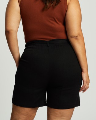 Atmos&Here Curvy Kym Linen Blend Tie Waist Shorts - High-Waisted (Black)