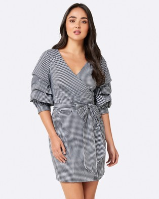 Forever New – Laurina Gingham Wrap Dress – Dresses (Black Check)