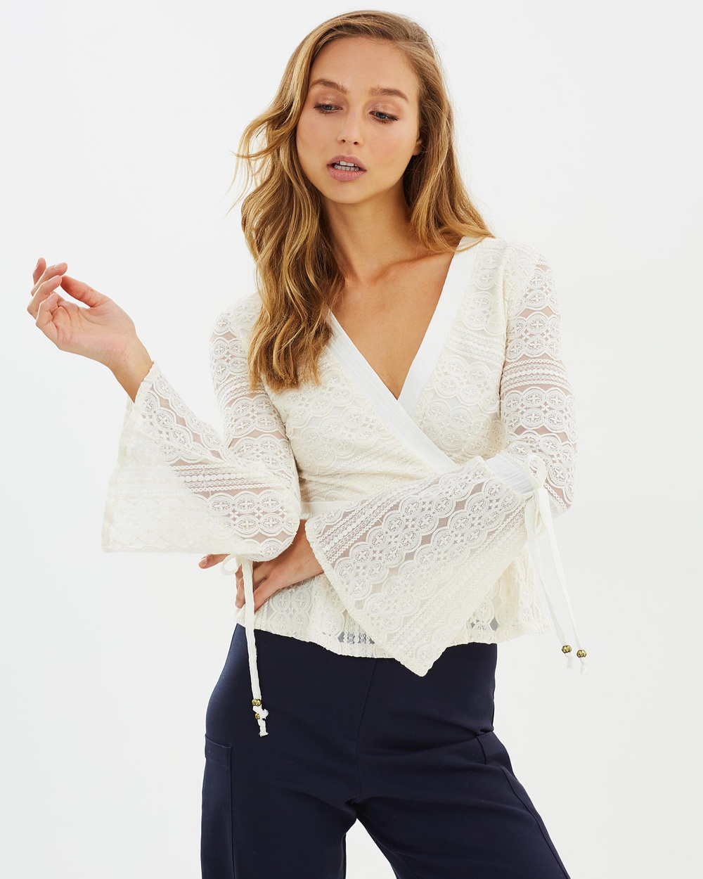 Moon River Bell Sleeve Lace Top Tops Ivory Bell Sleeve Lace Top