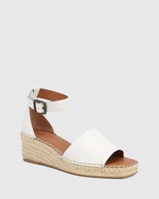 Wittner Krysta Leather Esapdrille Wedge Sandals - Wedges (White)