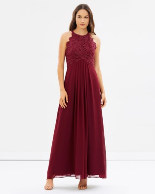 Alabaster The Label – Graced by Lace Dress – Bridesmaid Dresses Merlot Red