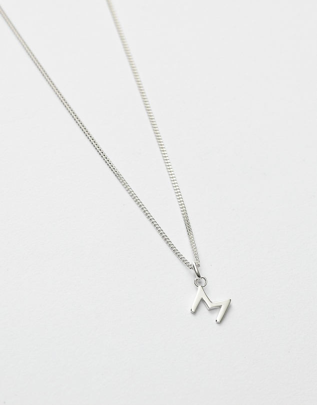 Women M Outline Initial Necklace