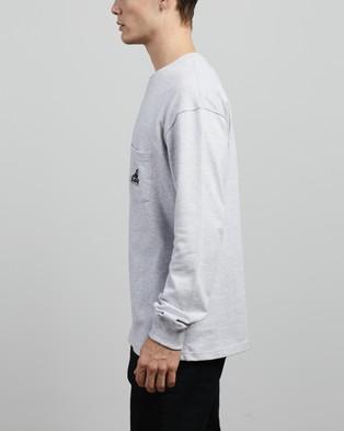 Large - Long Sleeve Pocket Tee - T-Shirts & Singlets (Snow Marle)