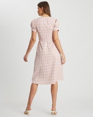 Calli Blythe Belted Dress - Printed Dresses (Pink Based Check)
