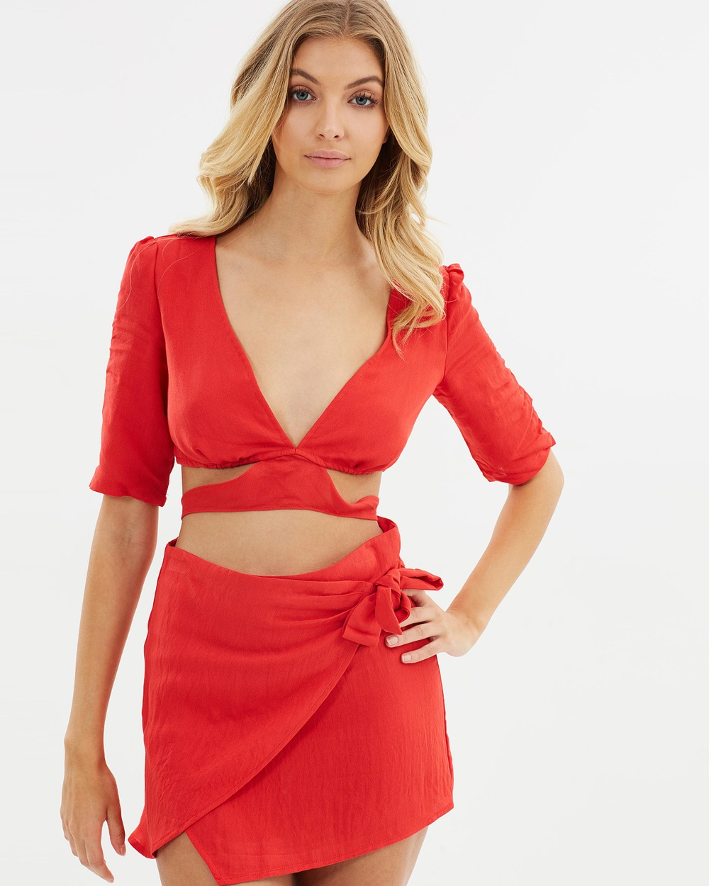 Toby Heart Ginger Rosa Tie Back Top Cropped tops Red Rosa Tie Back Top