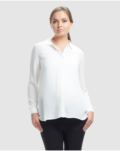 Soon Maternity Eva Pleat Back Shirt White