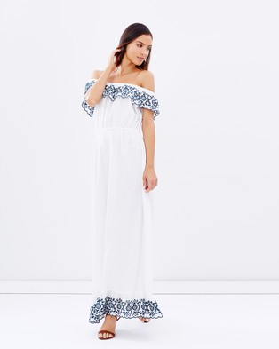 Pampelone – Loren Maxi Dress – Dresses (White & Blue)