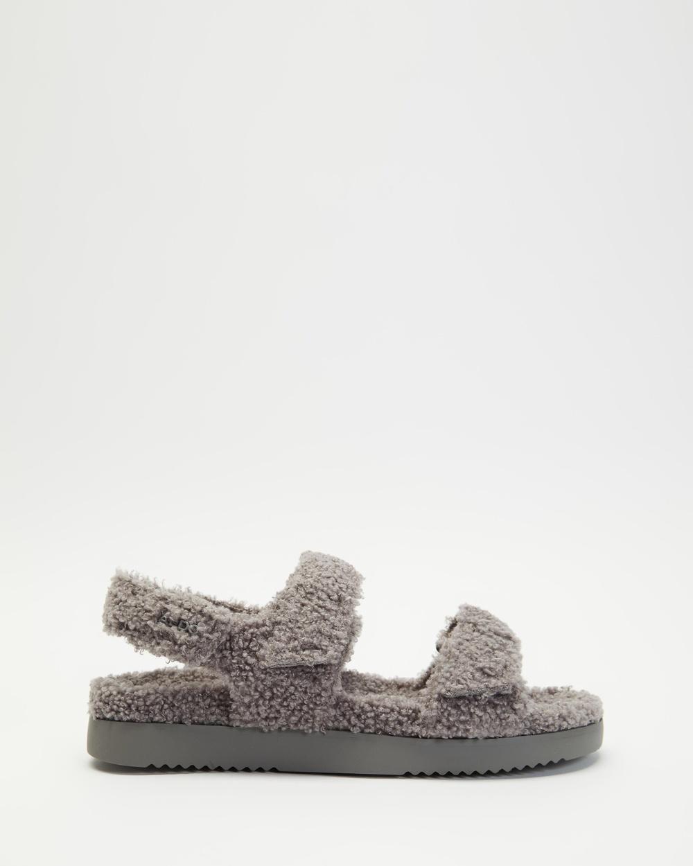 ALDO Cloud Faux Fur Slides Sandals Grey