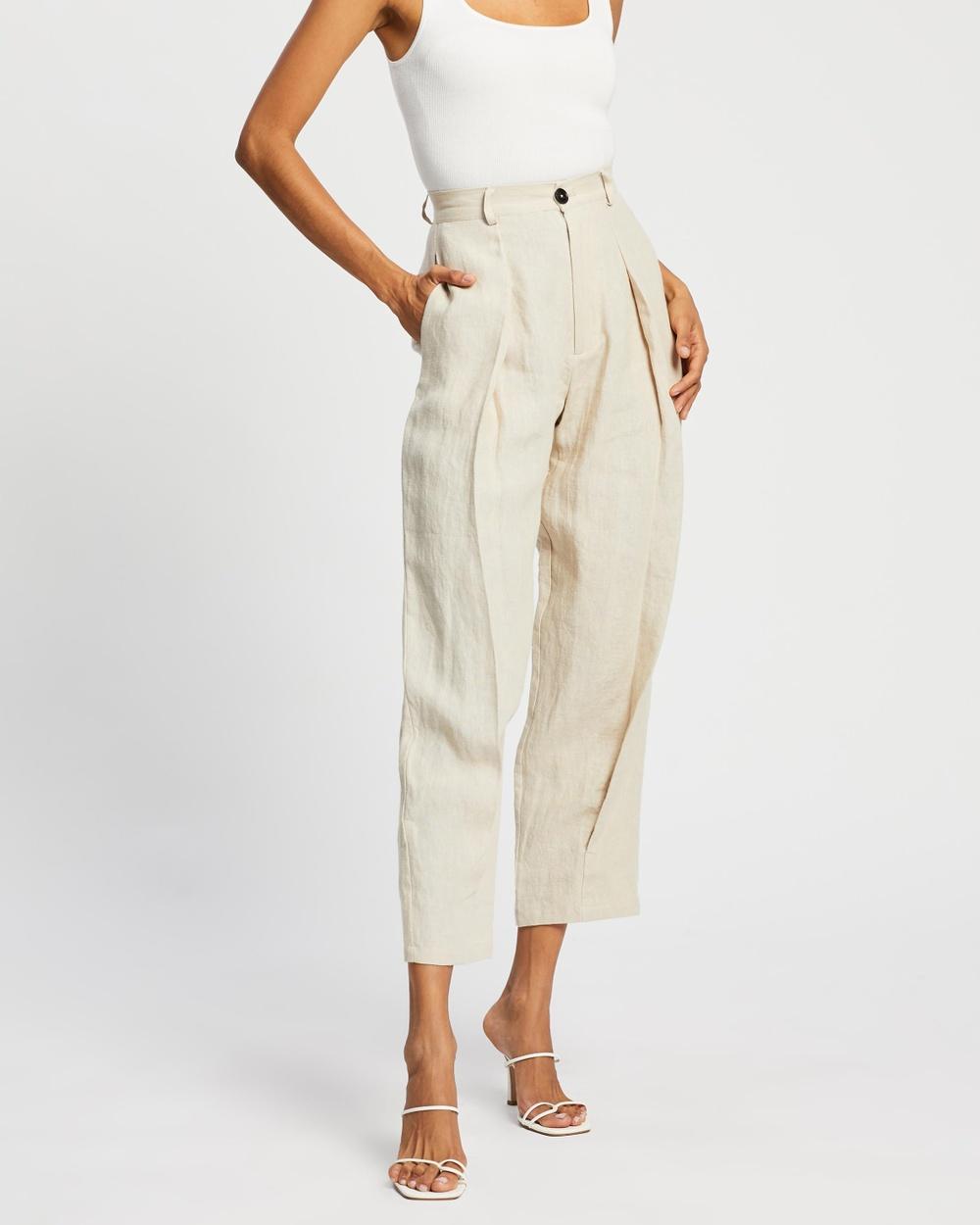 AERE Pleat Front Pants Neutral