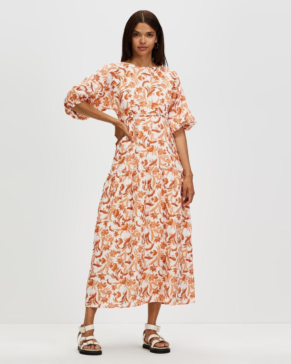 AERE Tie Back Linen Tea Dress Printed Dresses Paisley