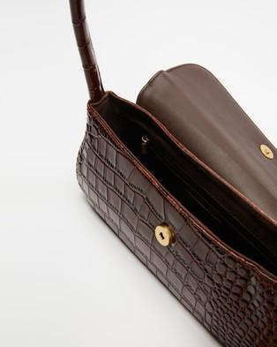 Brie Leon The Camille - Handbags (Dark Brown Oily Croc)