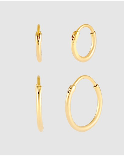 Kuzzoi Earrings Creole Set Duo Basic In 925 Sterling Silver Gold Plated