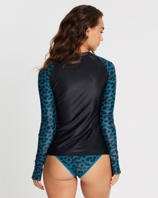 Duskii Oc??ane Long Sleeve Rash Top - Swimwear (Black & Leopard Teal)