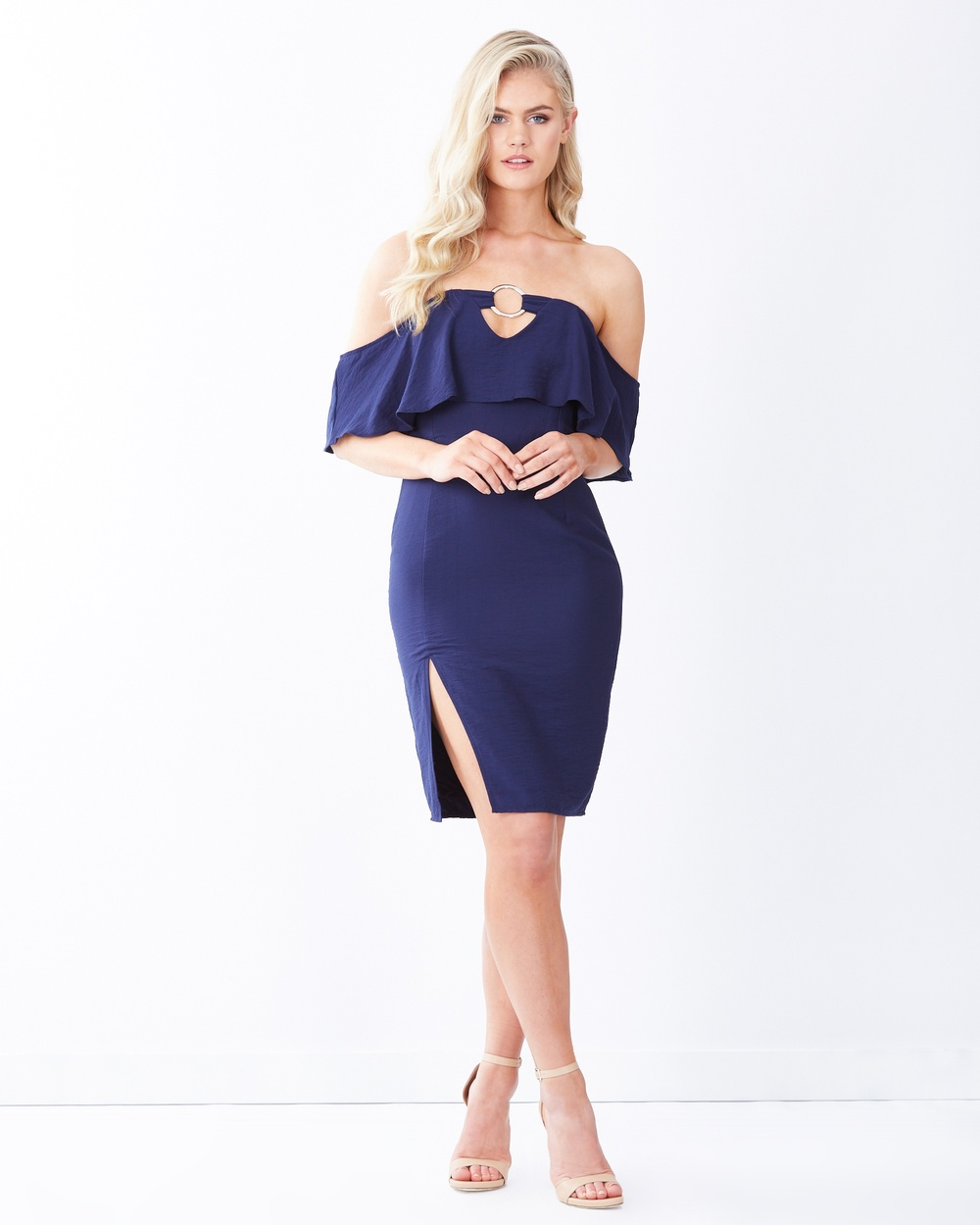 Tussah Navy Oxford Bardot Midi-Dress