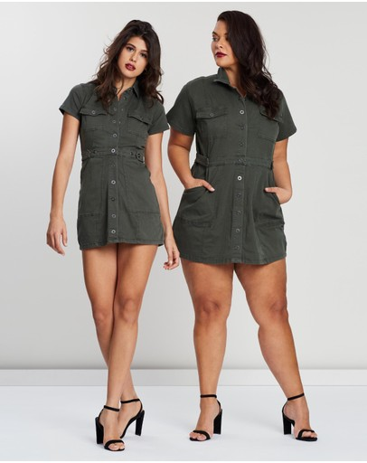 Good American Military Dress Olive