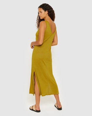 Jag Ava V Neck Linen Tank Dress - Dresses (green)