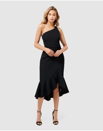 Forever New - Slate One Shoulder Asymmetric Frill Midi Dress