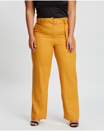 Missguided Curve - Linen Blend Belted Trousers