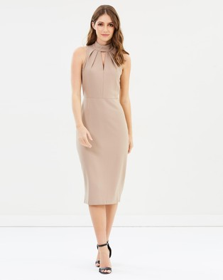 Closet London – Closet Pleated Body Midi Dress – Bodycon Dresses (Beige)