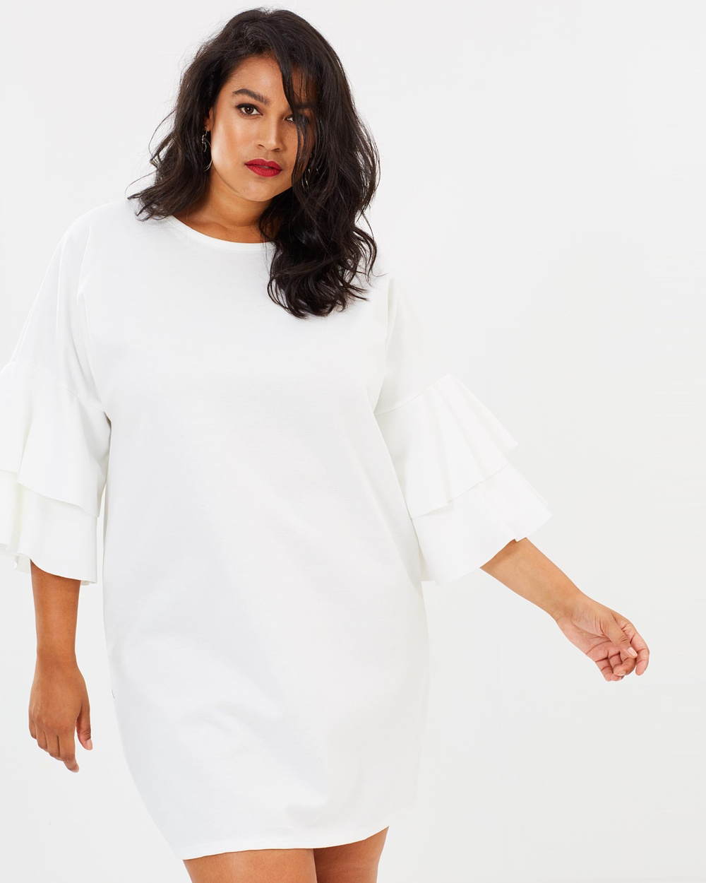 Missguided Curve Curve Frill Sleeve Shift Dress Dresses White Curve Frill Sleeve Shift Dress