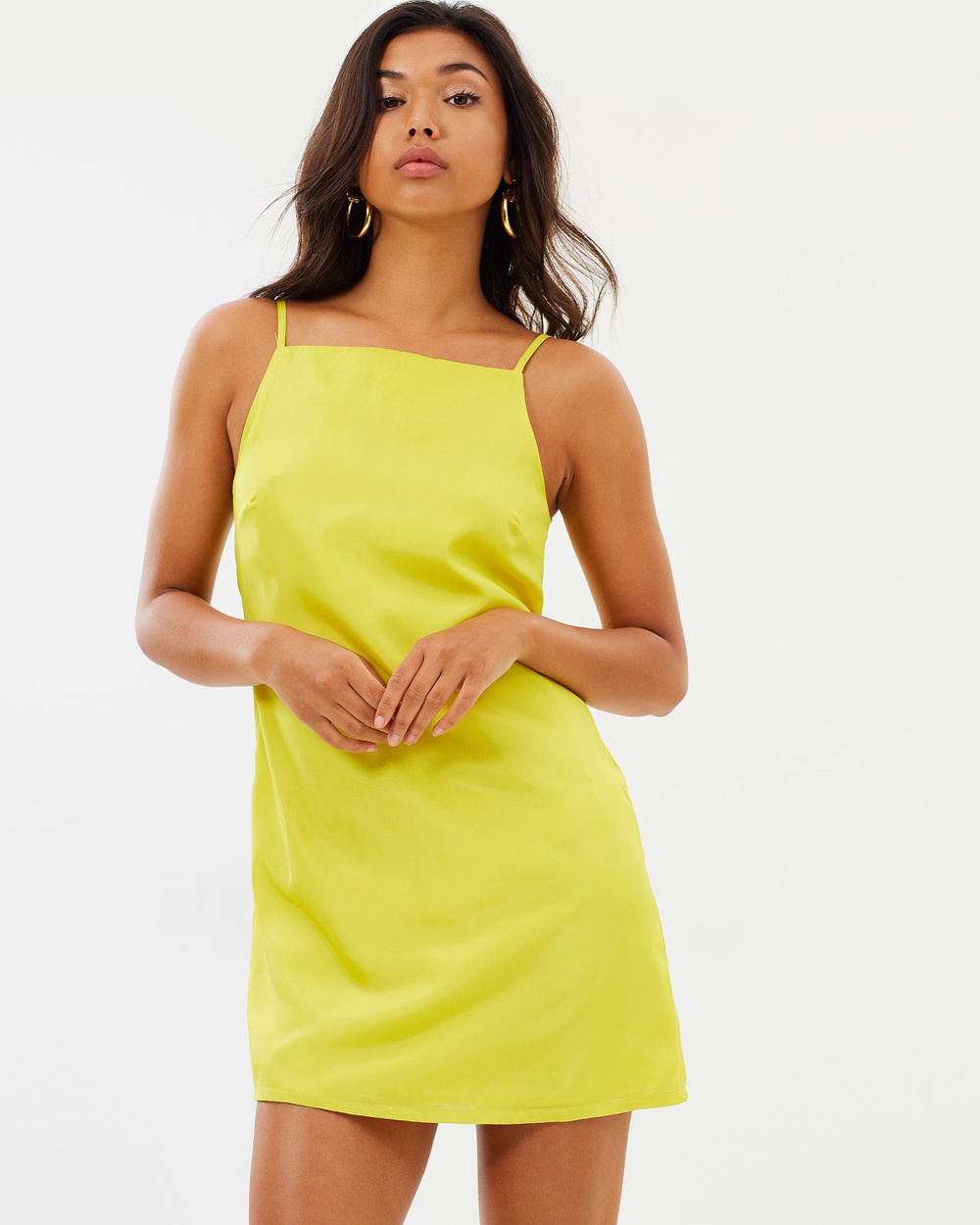 Missguided Strappy Cami Dress Dresses Yellow Strappy Cami Dress
