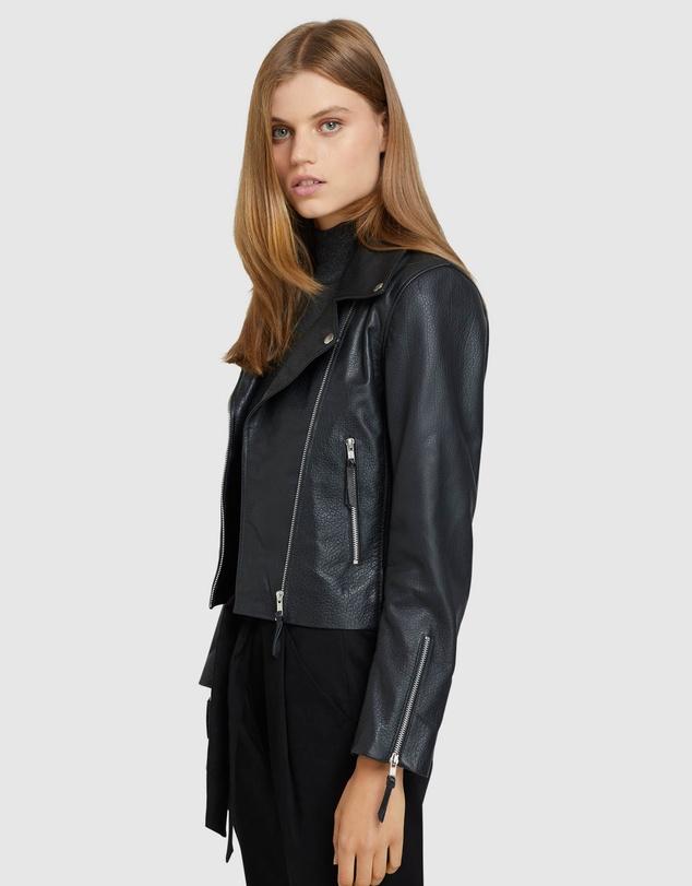 Women Sandy Textured Leather Jacket