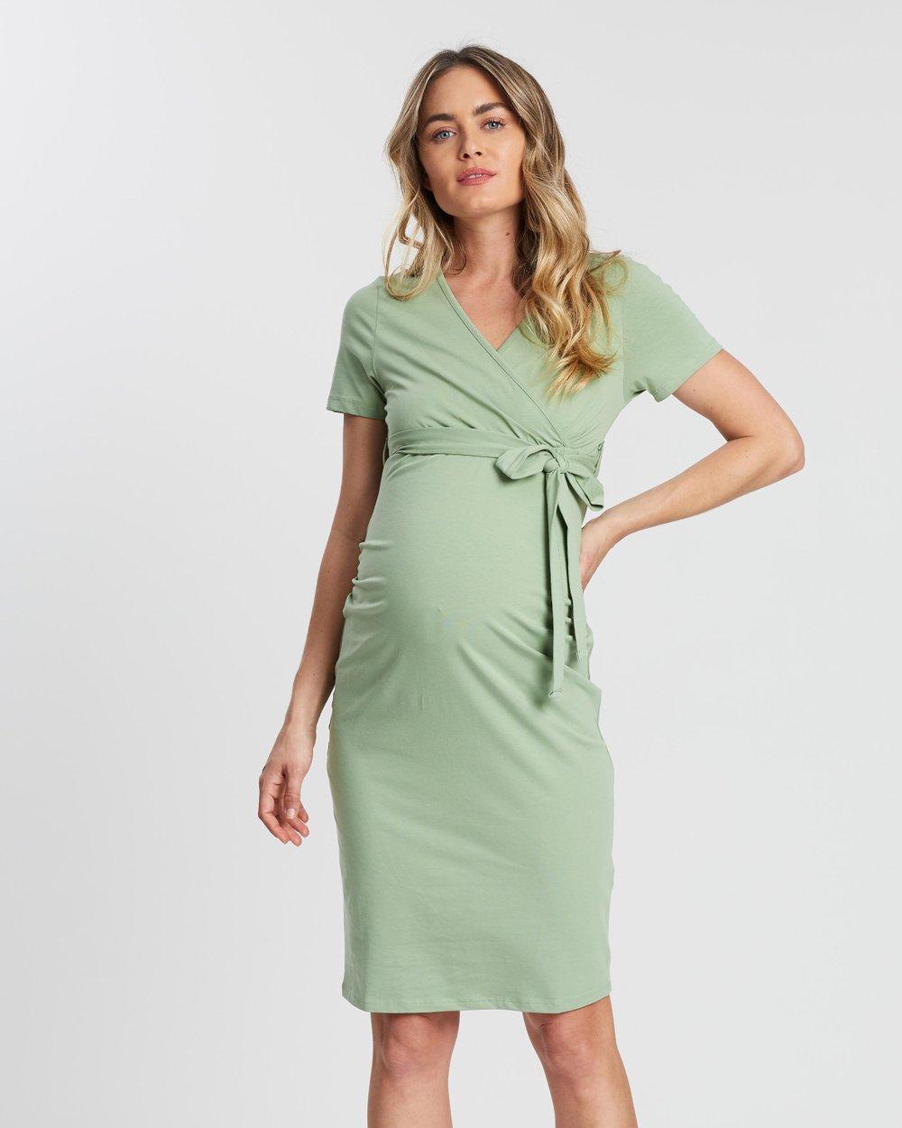 c298b0de54285 Sage Ruched Wrap Dress by DP Maternity Online   THE ICONIC   Australia