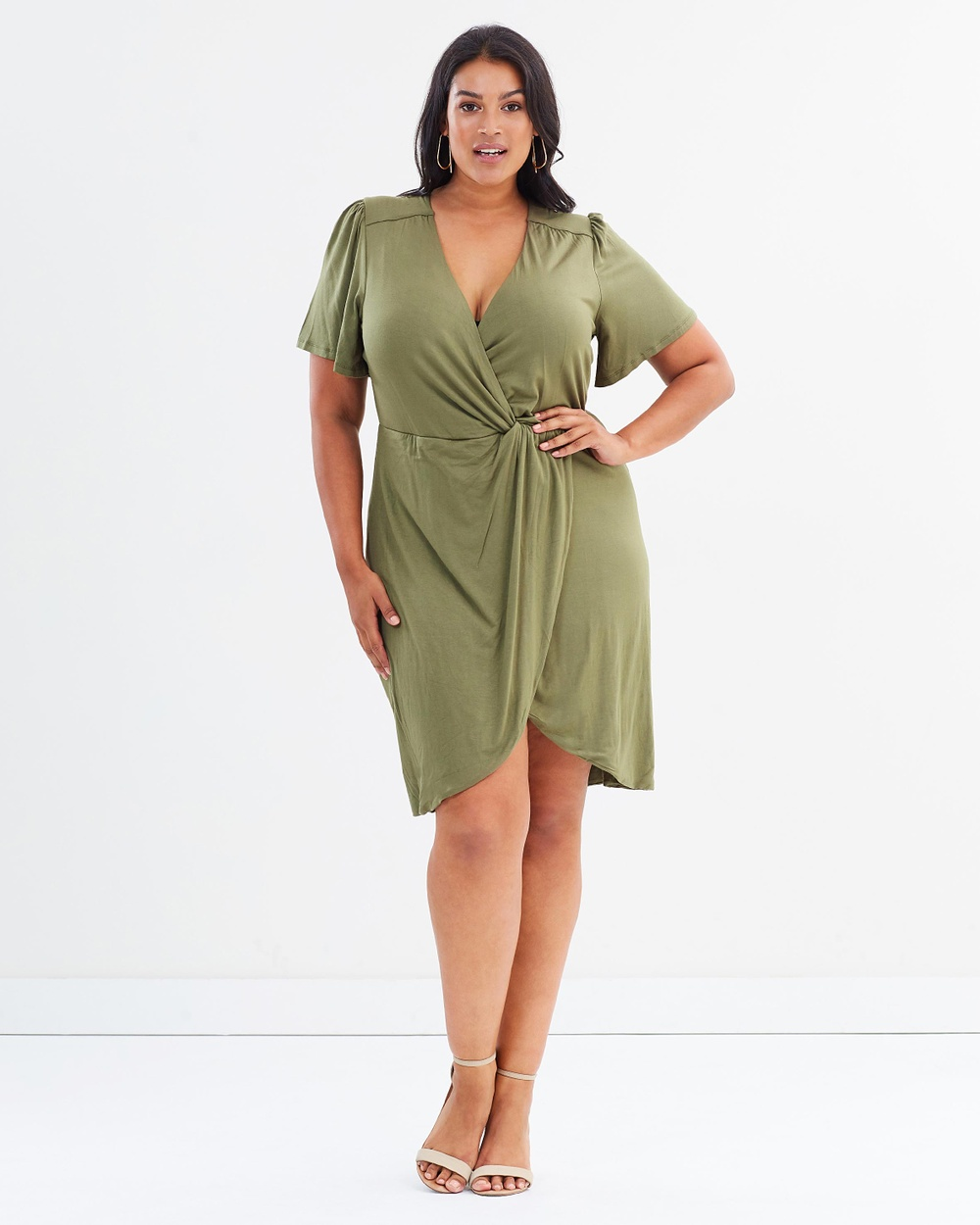 Rebel Wilson x Angels Twist Faux Wrap Dress Dresses Burnt Olive Twist Faux Wrap Dress