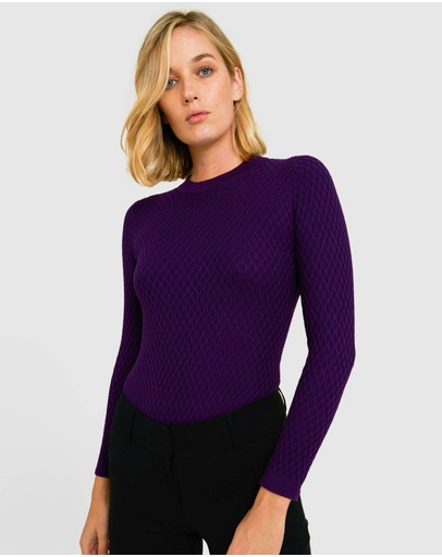 Forcast Gabbie Waffle Knit Sweater Purple