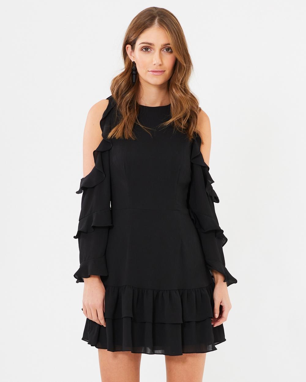 CHANCERY Courtney Frill Mini Dress Dresses Black Courtney Frill Mini Dress