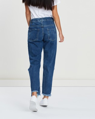 DRICOPER DENIM Mom Jeans - High-Waisted (Mid Indigo Wash)
