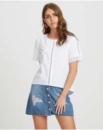 ICONIC EXCLUSIVE - Julia Cotton Lace Trim Woven Tee