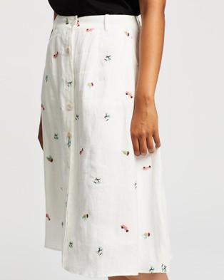 Marcs Pina Colada Embroidered Skirt - Skirts (Ivory Multi)
