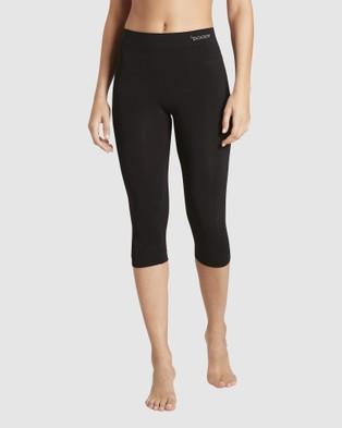 Boody Organic Bamboo Eco Wear 2 Pack 3 4 Leggings - 3/4 Tights (Black)
