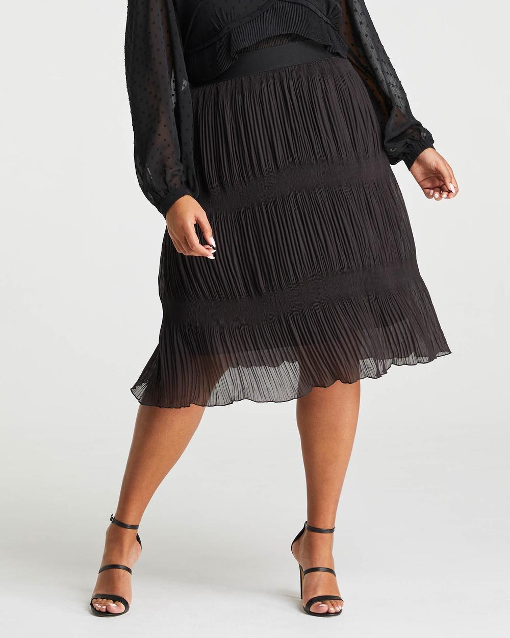 Estelle Ellen Plisse Midi Skirt Pleated skirts Chocolate