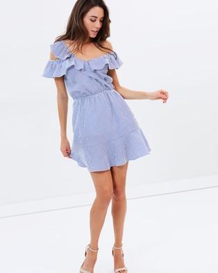 Atmos & Here – Abby Asymmetrical Frill Dress – Dresses (Navy Stripe)