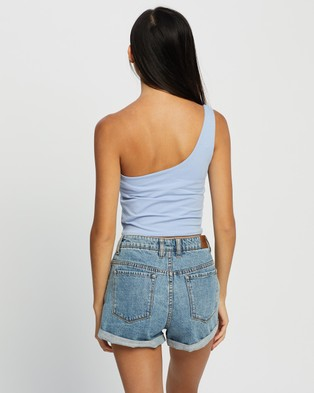 Cotton On One Shoulder Sleeveless Top - Cropped tops (Powder Blue)